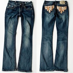 Miss Me Faux Cowhide And Bling Boot Cut Jeans